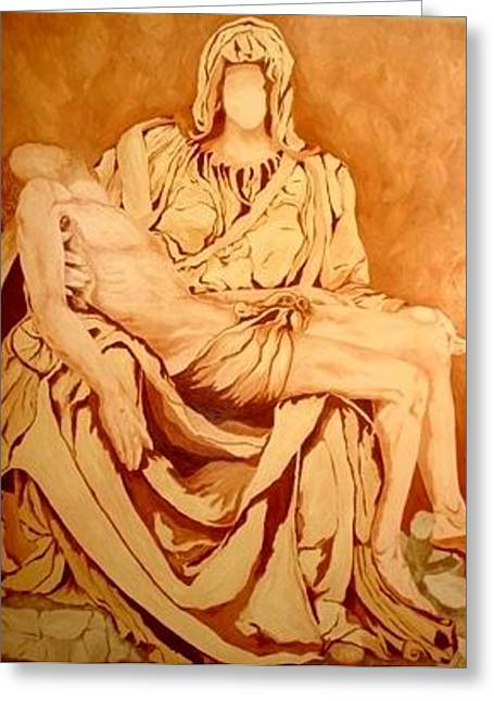 Catholic Sculptures Greeting Cards - Pieta-After Michelangelo Greeting Card by Kevin Davidson