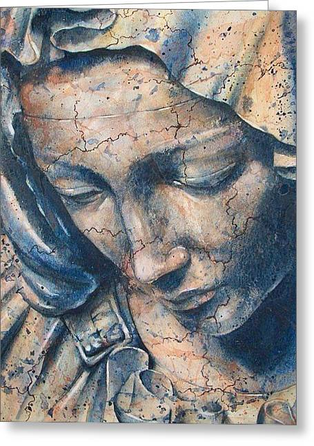 Statue Portrait Paintings Greeting Cards - Pieta Greeting Card by Fran McGarry