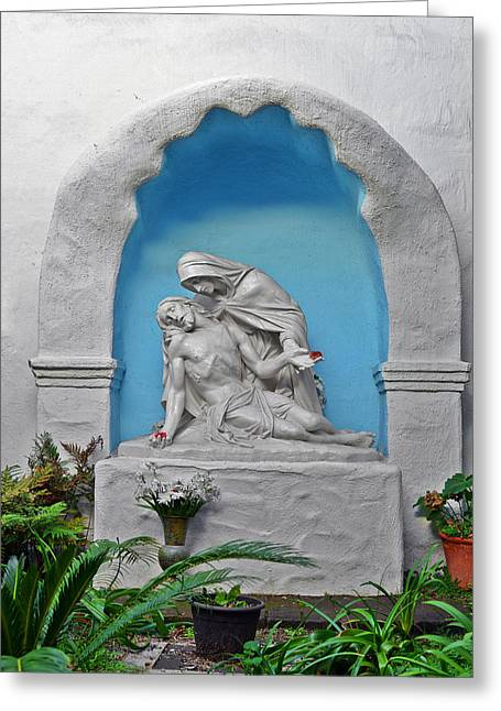 Gospel Greeting Cards - Pieta Garden Mission Diego de Alcala Greeting Card by Christine Till