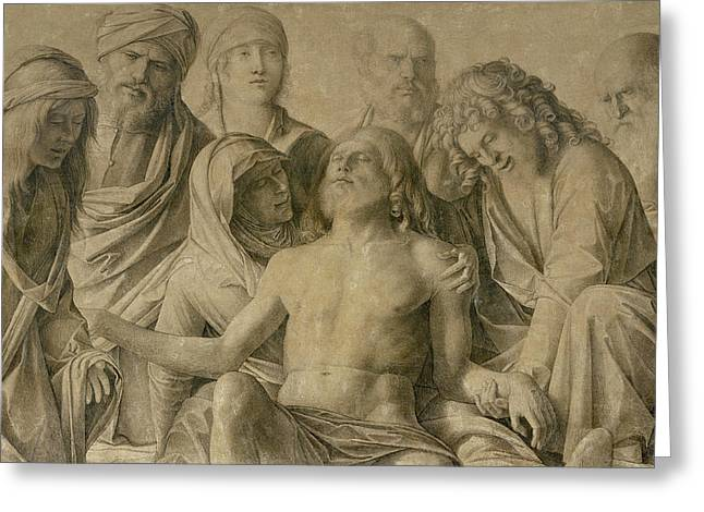 The Followers Greeting Cards - Pieta Greeting Card by Giovanni Bellini