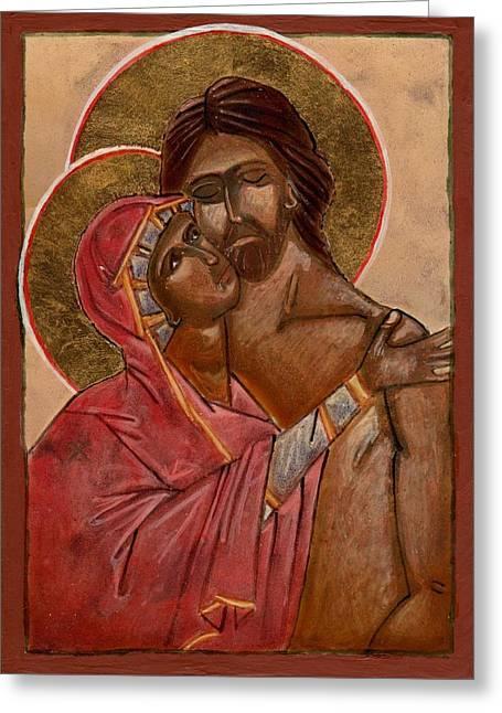 Virgin Mary Greeting Cards - Pieta Greeting Card by Lizzie Joy Lukens