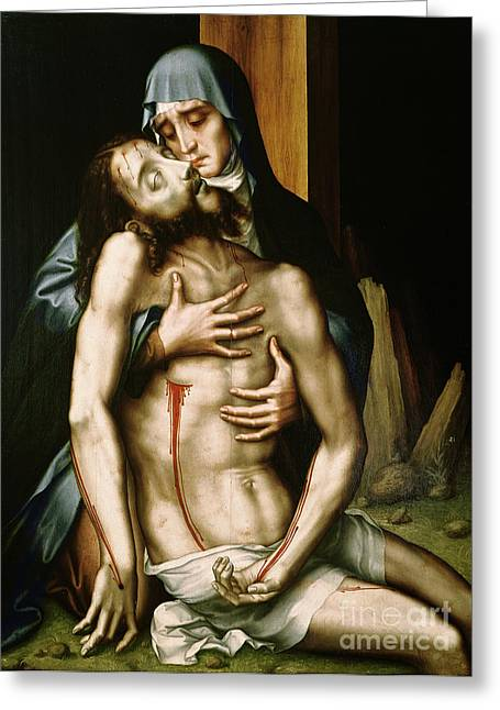 Worshipping Greeting Cards - Pieta Greeting Card by Luis de Morales