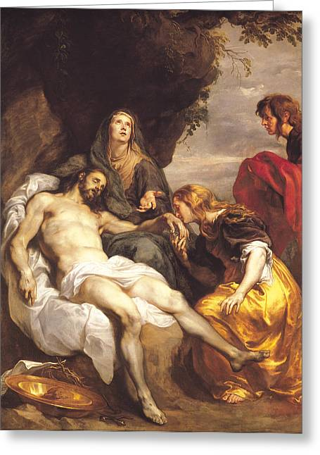 Worship God Paintings Greeting Cards - Pieta Greeting Card by Sir Anthony van Dyck