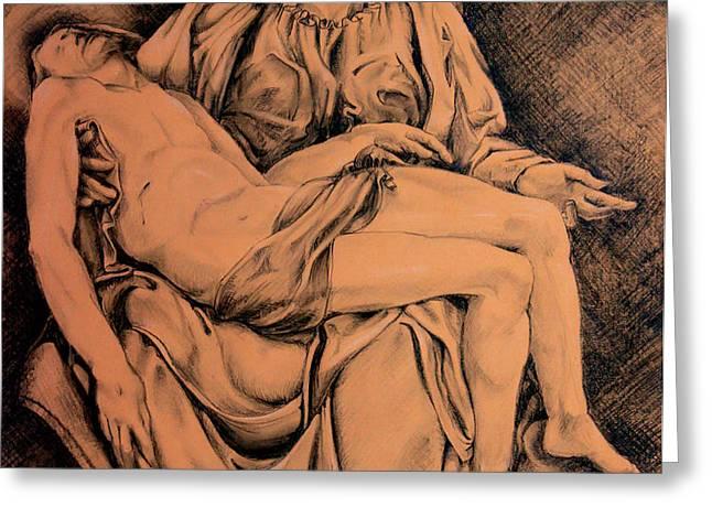 Pieta Study Greeting Card by Otto Werner