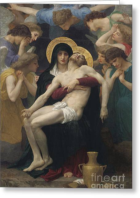 Thorns Greeting Cards - Pieta Greeting Card by William-Adolphe Bouguereau