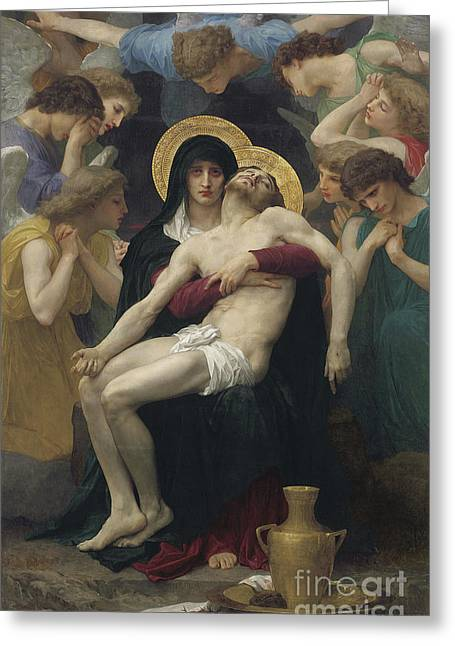 Religious Greeting Cards - Pieta Greeting Card by William Adolphe Bouguereau