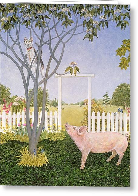Piglets Greeting Cards - Pig and Cat Greeting Card by Ditz