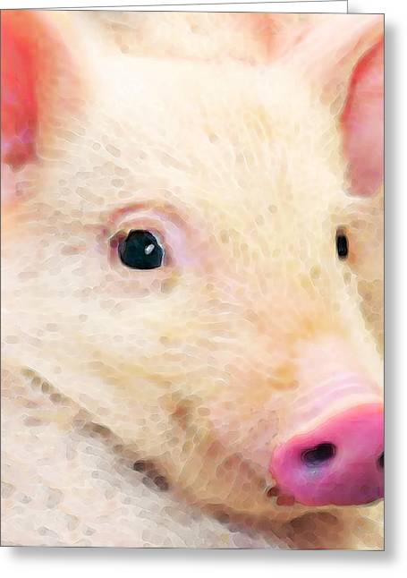 Rescued Animals Greeting Cards - Pig Art - Pretty In Pink Greeting Card by Sharon Cummings