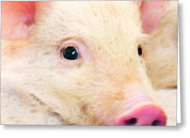 Pig Art - Pretty In Pink Greeting Card by Sharon Cummings