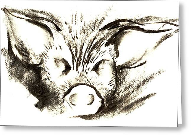 Pig Pastels Greeting Cards - Pig Headed Greeting Card by Mark Cawood