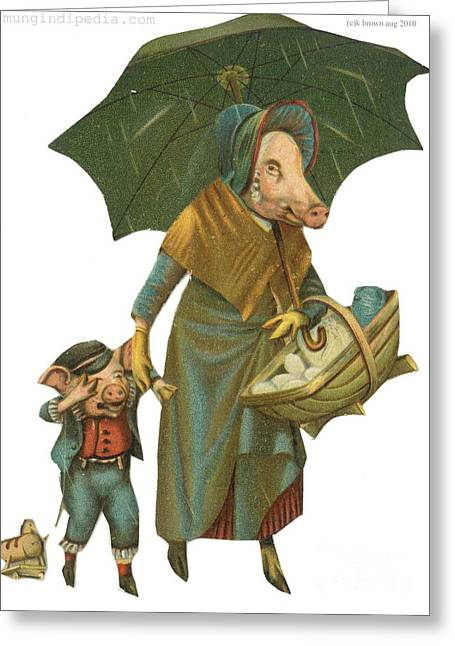 18th Century Mixed Media Greeting Cards - Pig Mum And Son Greeting Card by Artist from the past
