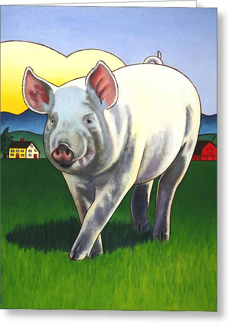 Rural Landscapes Greeting Cards - Pig Newton Greeting Card by Stacey Neumiller
