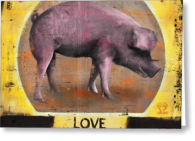 Pig Out Greeting Card by Joel Payne