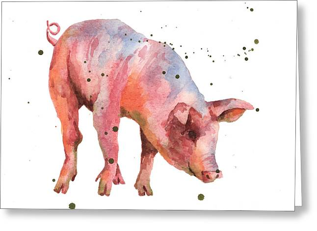 Piglets Greeting Cards - Pig Painting Greeting Card by Alison Fennell