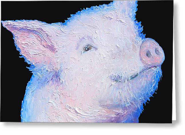 Piglets Greeting Cards - Pig Painting for the kitchen Greeting Card by Jan Matson