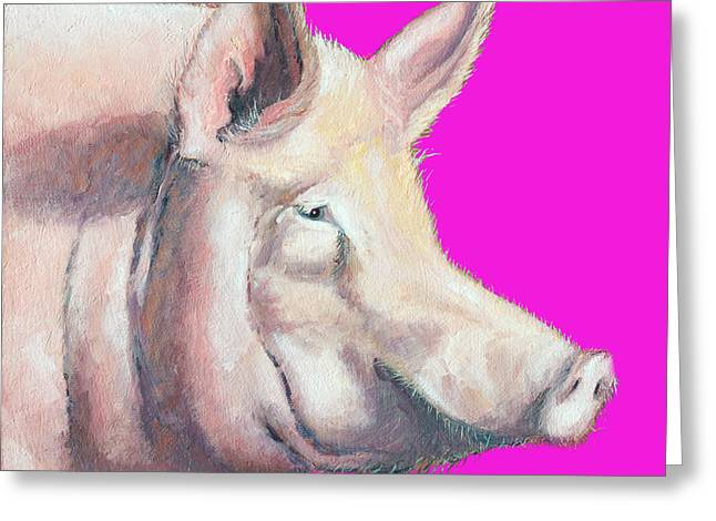 Piglets Greeting Cards - Pig painting - Kitchen Art Greeting Card by Jan Matson
