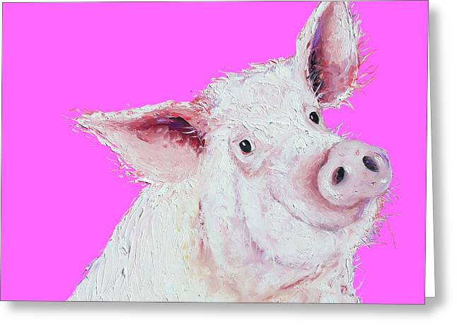 Pig Painting On Hot Pink Greeting Card by Jan Matson