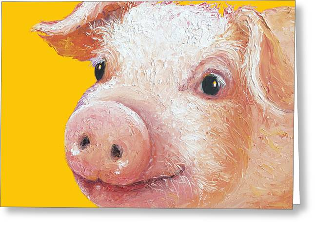 Lovers Art On Print Greeting Cards - Pig Painting on yellow background Greeting Card by Jan Matson