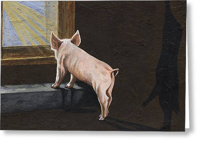 Advocacy Greeting Cards - Pig Shadow Greeting Card by Twyla Francois