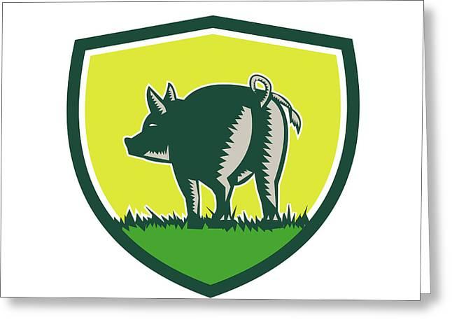 Pig Tail Rear Crest Woodcut Greeting Card by Aloysius Patrimonio