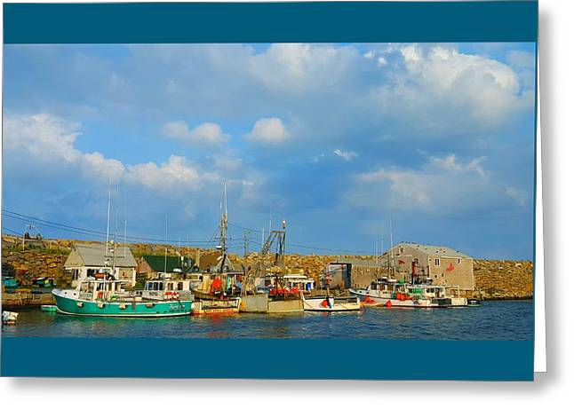 Boats At Dock Greeting Cards - Pigeon Cove Harbor Greeting Card by Harriet Harding