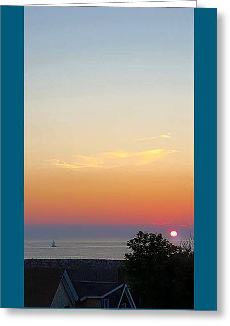 Blue Sailboats Greeting Cards - Pigeon Cove Sunrise Greeting Card by Harriet Harding