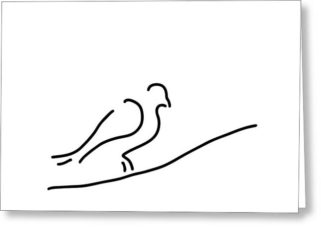 Transfer Drawings Greeting Cards - Pigeon Dove In Town City Greeting Card by Lineamentum