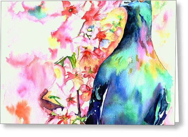 Pigeon Eye Greeting Card by Christy  Freeman