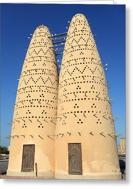 Dovecote Greeting Cards - Pigeon houses in Qatar Greeting Card by Paul Cowan