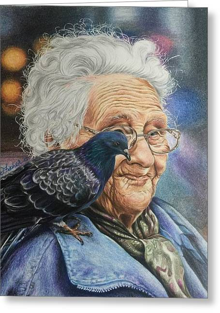 Senior Citizen Drawings Greeting Cards - Pigeon Lady Greeting Card by Debbie Fischer