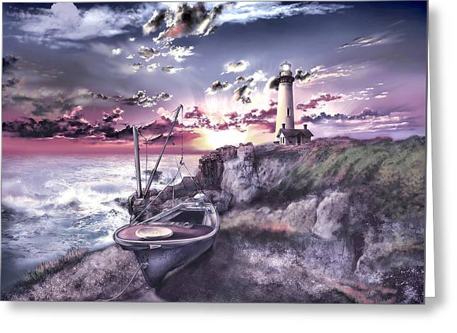 California Lighthouse Greeting Cards - Pigeon Point Lighthouse 3 Greeting Card by MB Art factory