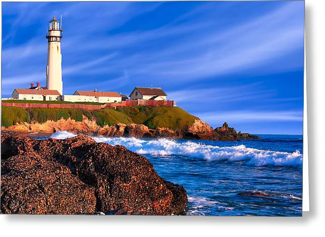 Pigeon Point Light Station Greeting Cards - Pigeon Point Lighthouse - California Coast Afternoon Greeting Card by Mark E Tisdale