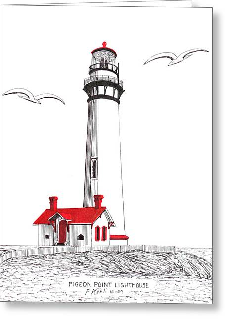 Pigeon Point Lighthouse Greeting Card by Frederic Kohli