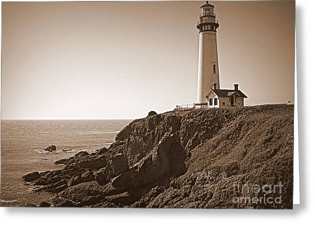 Half Moon Bay Greeting Cards - Pigeon Point Lighthouse in Sepia Greeting Card by Carol Groenen