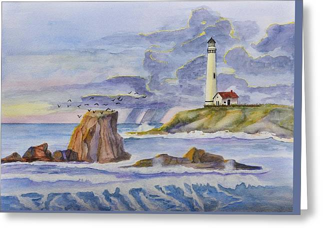 Pigeon Point Lighthouse Greeting Card by Linda Brody