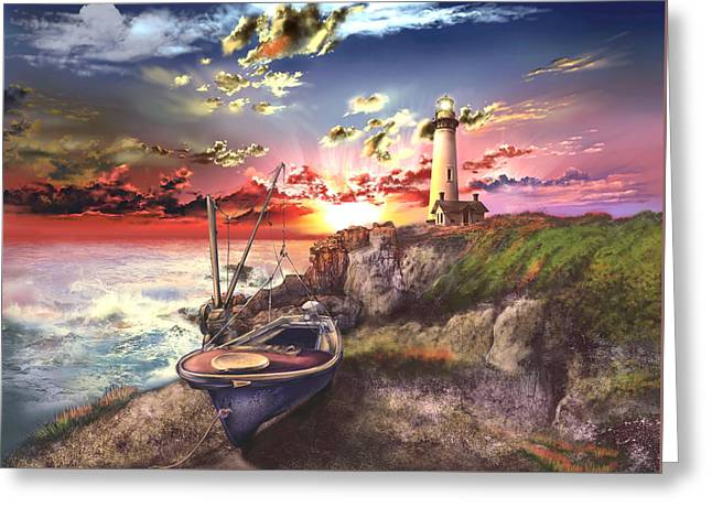Usa Digital Art Greeting Cards - Pigeon Point Lighthouse Greeting Card by MB Art factory