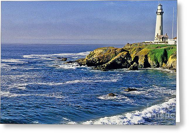 Pigeon Point Light Station Greeting Cards - Pigeon Point Lighthouse Greeting Card by Nancy Hoyt Belcher