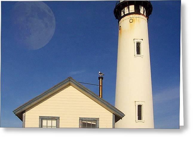 Pigeon Point Lighthouse Greeting Card by Wingsdomain Art and Photography