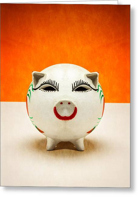 Invest Greeting Cards - Piggy Bank Smile Greeting Card by Yo Pedro