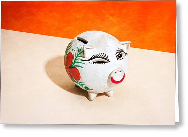Piggy Bank Wink Greeting Card by Yo Pedro