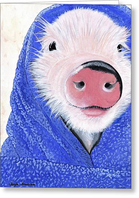 Piglets Greeting Cards - Piglet in a Blanket Greeting Card by Twyla Francois