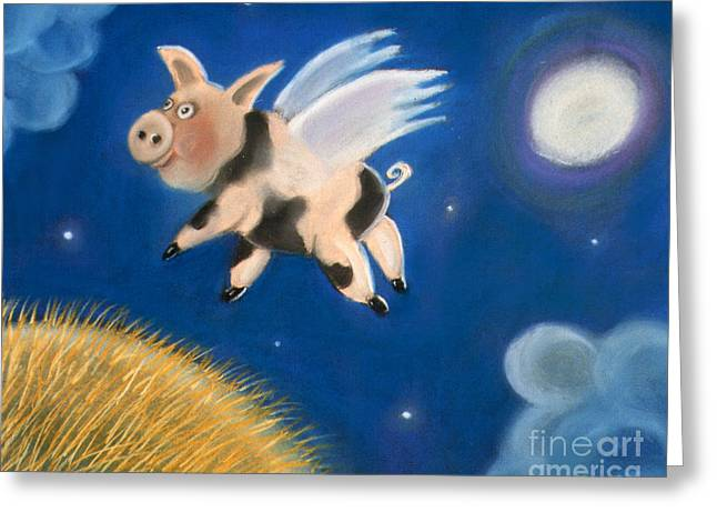 Pigs Pastels Greeting Cards - Pigs Might Fly Greeting Card by Caroline Peacock