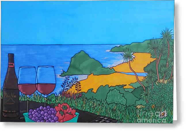 Blue Grapes Greeting Cards - Piha Noir Greeting Card by Joanne Oram