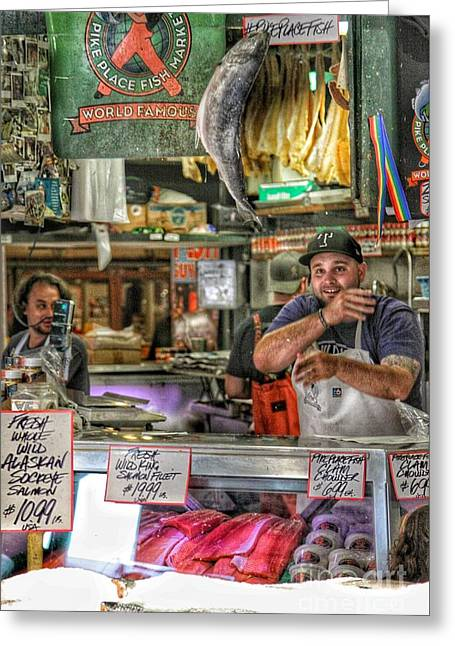 Throwing Food Greeting Cards - Pike Place Fish Market Greeting Card by Gary Ray