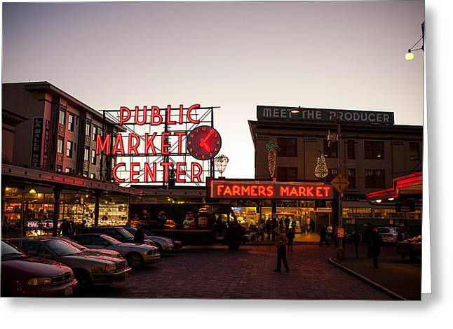 Monorail Greeting Cards - Pike Place Market 2 Greeting Card by Paul Bartoszek