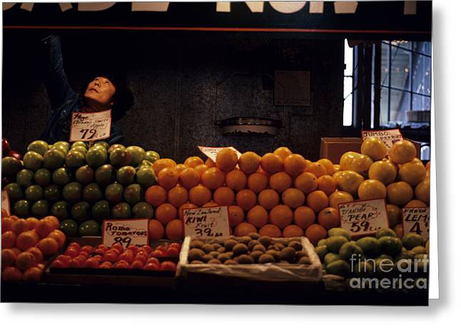 Local Food Places Greeting Cards - Pike Place Market Greeting Card by Jim Corwin
