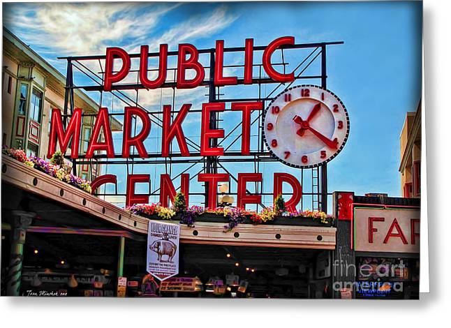 Minchak Greeting Cards - Pike Place Market Greeting Card by Joan  Minchak