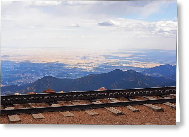 Pikes Peak Cog Rail Train Tracks Colorado 2 Greeting Card by Toby McGuire