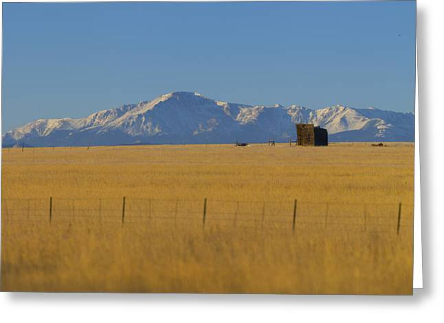 Shack Greeting Cards - Pikes Peak Greeting Card by Noah Bryant