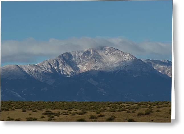Panoramics Greeting Cards - Pikes Peak Panoramic Greeting Card by Ernie Echols